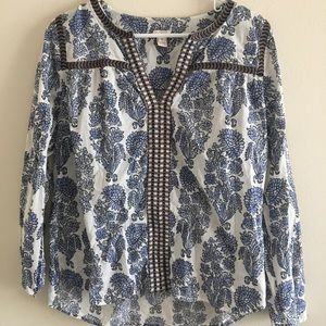 JCREW Blue Print Top